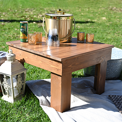 Wood side table for picnic